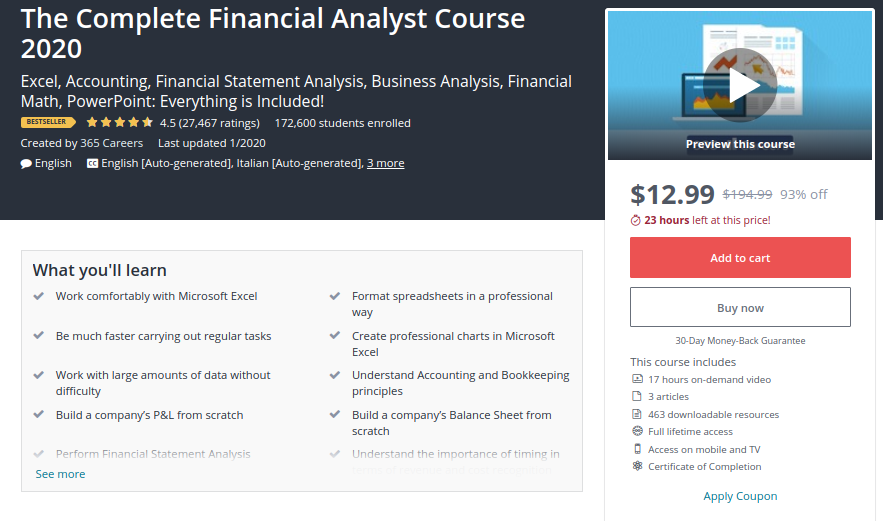 The Complete Financial Analyst Course 2020 by Udemy