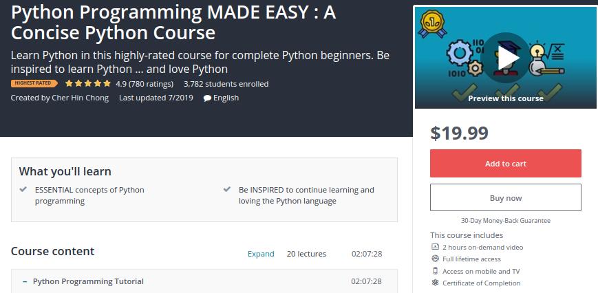 1. Python Programming Made Easy: A Concise Python Course
