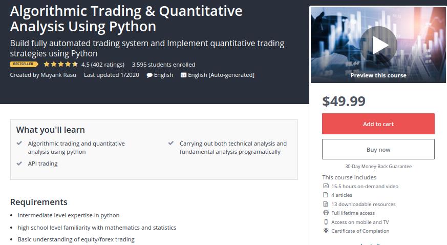Algorithmic Trading and Quantitative Analysis Using Python