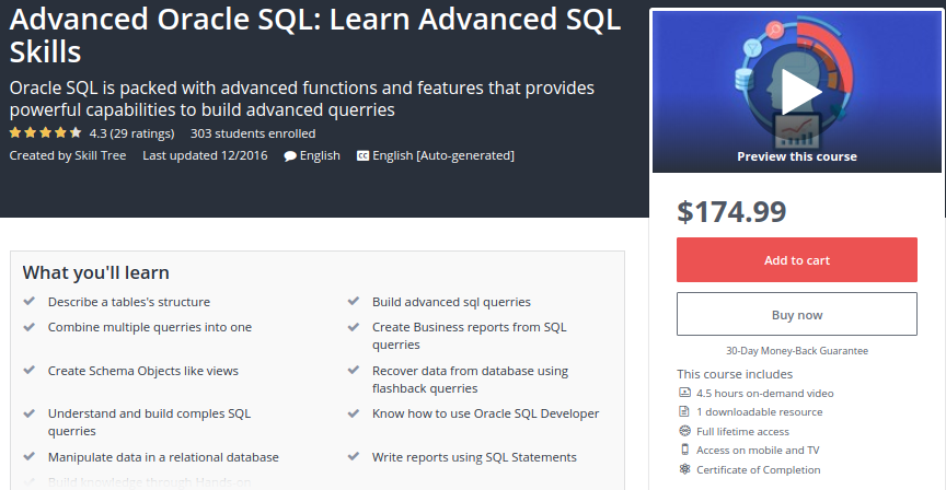 Advanced Oracle SQL: Learn Advanced SQL Skills