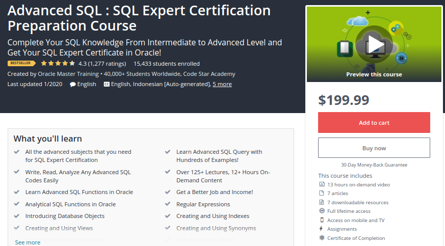 Advanced SQL: SQL Expert Certification Preparation Course