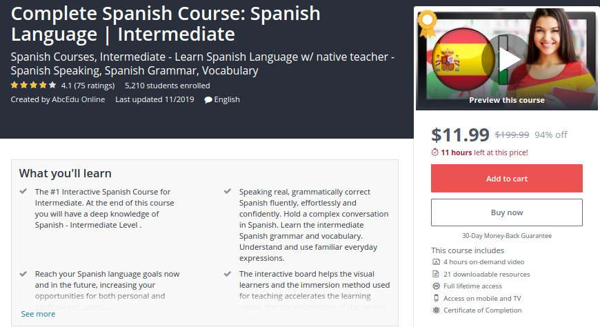 Complete Spanish Course: Spanish Language | Intermediate