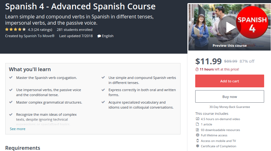 Spanish 4 — Advanced Spanish Course