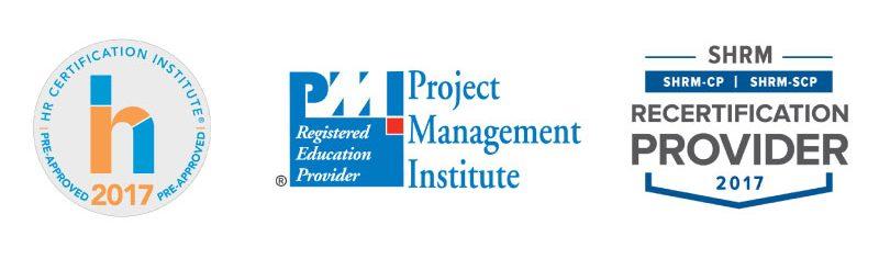 HRCI, SHRM, PMI Approved Provider logos