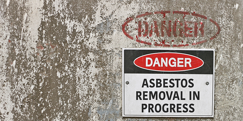 Red, Black and White Danger, Asbestos Removal in Progress Warning