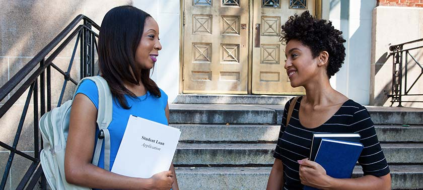 Two college students discuss their financial aid opportunities and strategies.