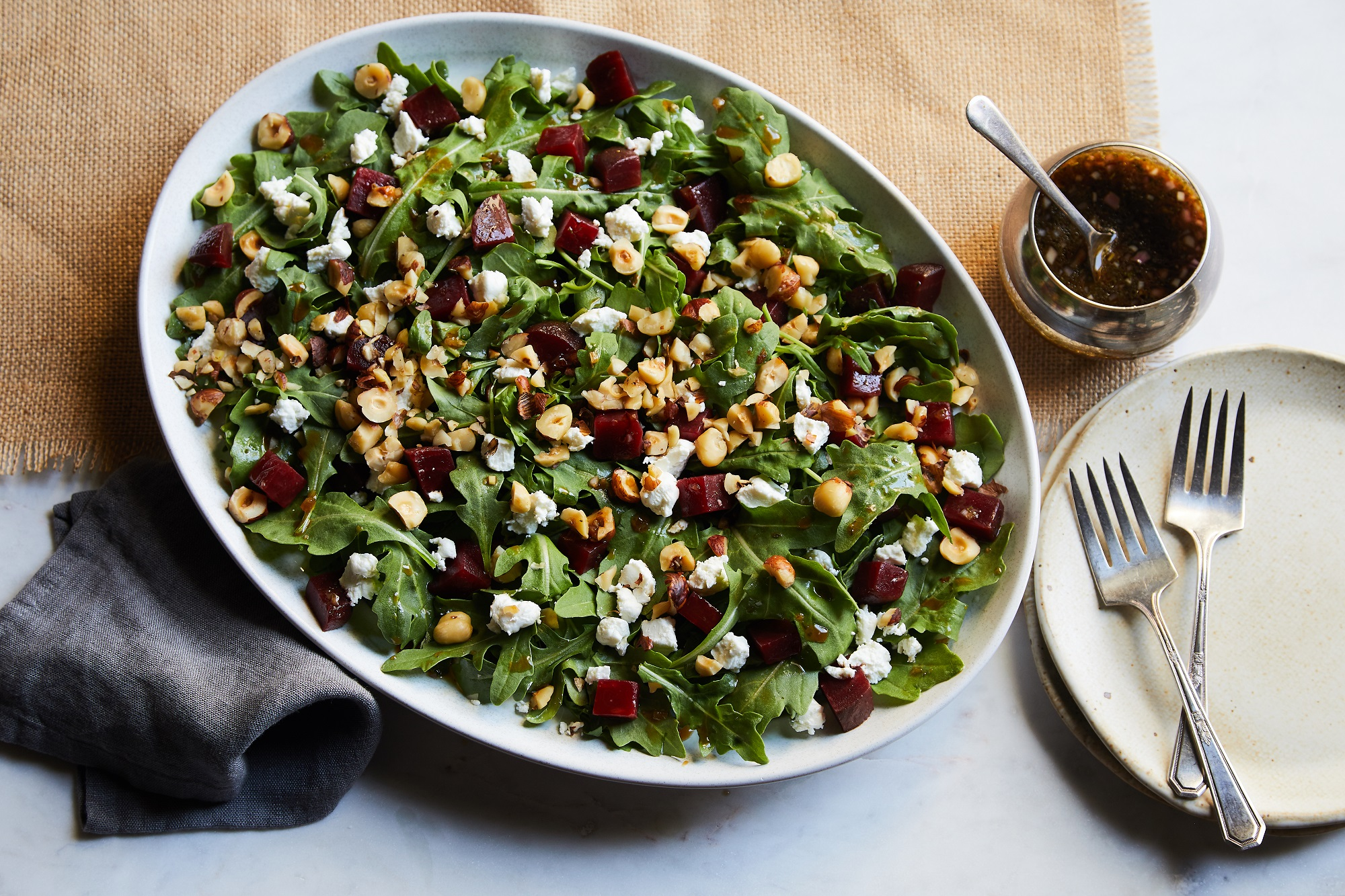 Baby Beet Salad Arugula Goat Cheese and Hazelnuts 3 lo