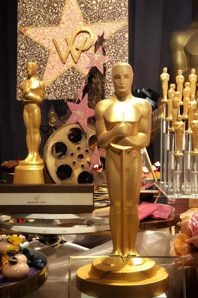 The extravagant Oscars menu features edible gold dust and Ruby chocolate
