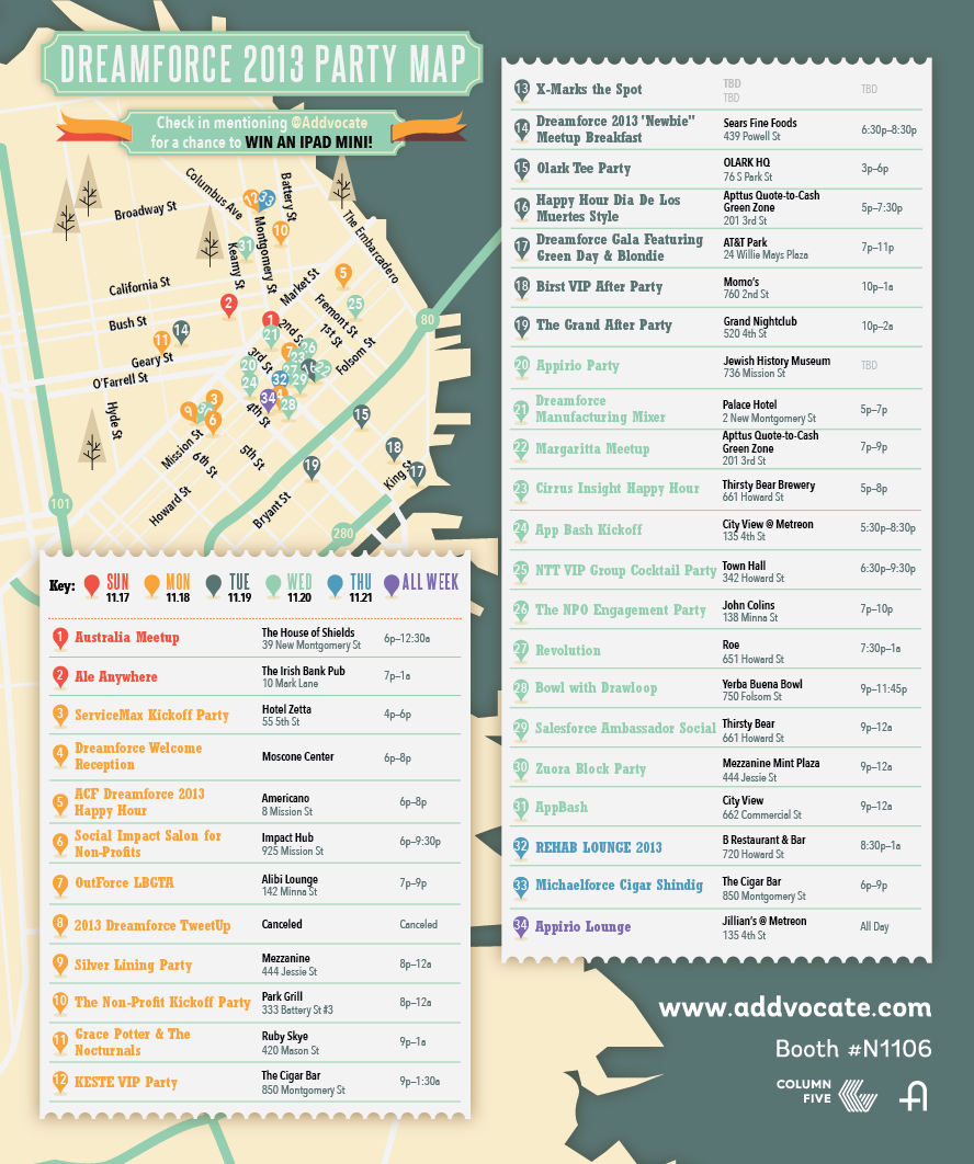 Infographic: Dreamforce 2013 Party Map