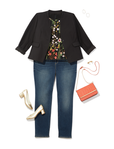 plus size women's workwear denim paired with a black blazer and floral top, complete with kitten heels and a crossbody bag.