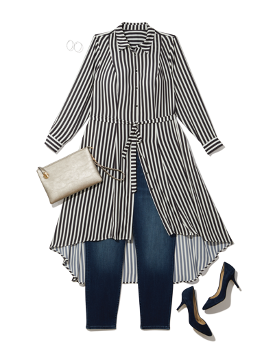 a shirtdress layered over jeans is perfect for work, just add heels.