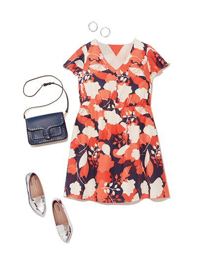 A plus size print dress with metallic accessories and a purse