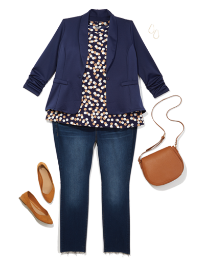 a blazer and printed top dress up a pair of plus size women's workwear denim and flats.