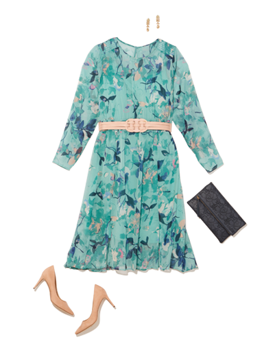 A plus size turquoise Spring dress with nude heels