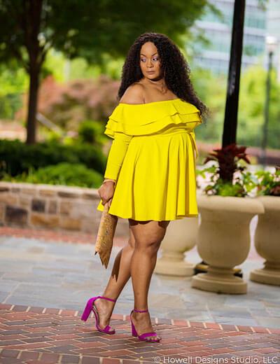 plus size blogger marie denee yellow dress