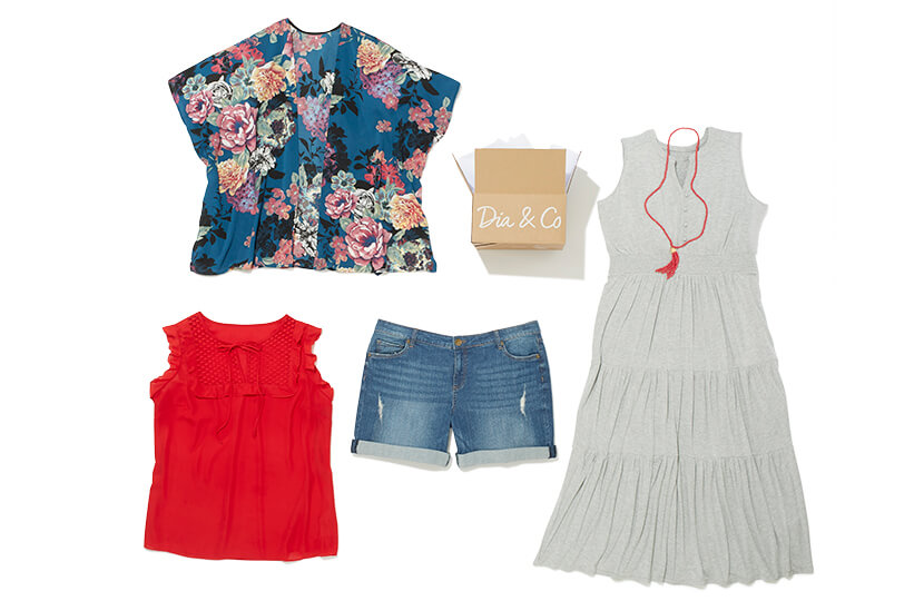 Five items from a Dia Style Box that include plus size denim shorts, a maxi dress, tassel necklace, red top, and floral kimono.