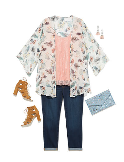One of many boho outfits available at Dia&Co, this plus size outfit features dark wash denim, a pink camisole, and white floral kimono.