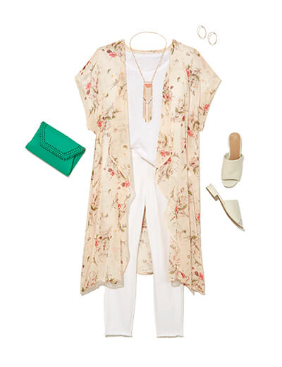 One of many boho outfits available at Dia&Co, this plus size outfit featured a white tee, white denim, and a floral floor-length kimono.