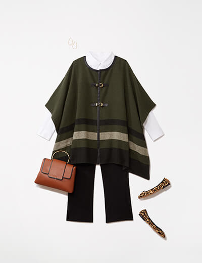 One of many boho outfits available at Dia&Co, this plus size outfit features trousers and a colorblocked poncho.