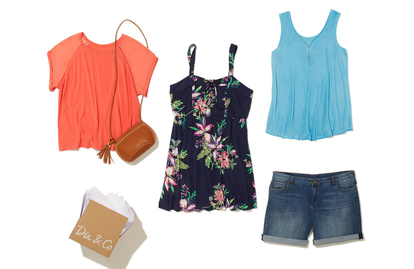 Plus size subscription box from Dia&Co featuring casual styles including an orange top, floral dress, blue tank top, denim shorts, and a crossbody bag.