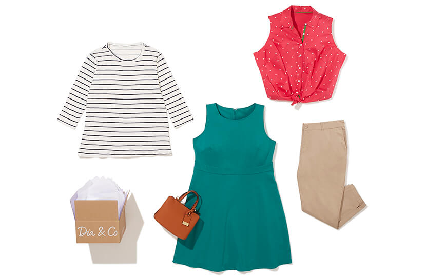 A Dia Style Box featuring a plus size green dress, khaki pants, red top, striped shirt, and camel purse.