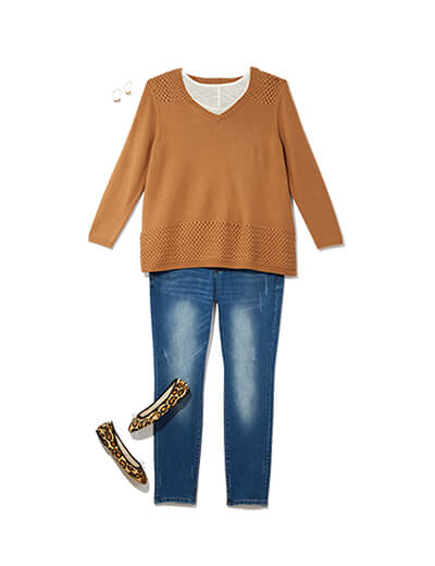 One of many casual outfits available at Dia&Co, this plus size outfit features denim and a tan sweater.