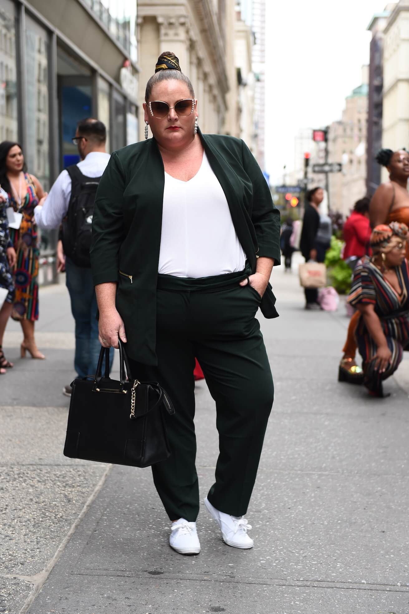 104d86f8d42 plus size street style outfit featuring a trendy black suit and white top