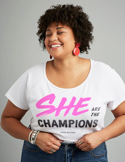 #TeeUpChange Venus Williams' She are the champions T-shirt