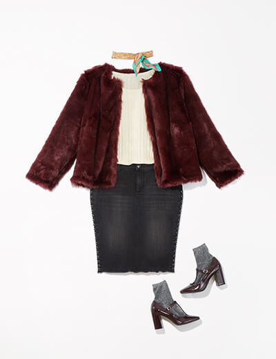 This glam outfit features a faux fur statement jacket, denim-sweater combo, sparkly socks and a neckerchief.