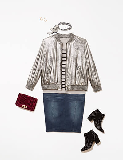 This glam outfit features a metallic bomber jacket, denim skirt, edgy booties and a velvet handbag.