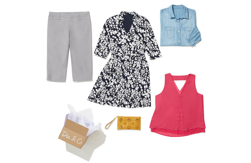 Exuding traditional style, this Dia Style Box features a long sleeve printed dress, pink sleeveless top, chambray shirt, grey pants, and yellow wristlet.