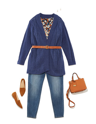 Featuring traditional style, this outfit features a cozy cardigan, denim, and thoughtful accessories.