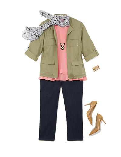 Featuring traditional style, this outfit includes black trousers, a flowy blouse, and a cargo jacket.