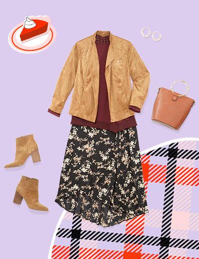 floral midi skirt, mock neck sweater, suede jacket