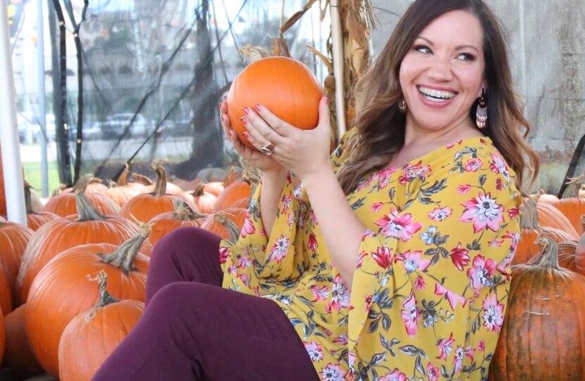 Blogger Angela Cruz at pumpkin patch