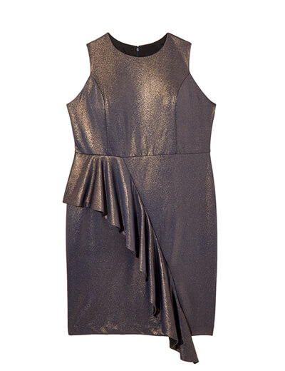 Metallic bodycon dress.