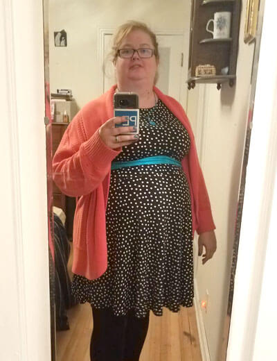 plus-size style evolution polka dot dress coral cardigan turquoise belt