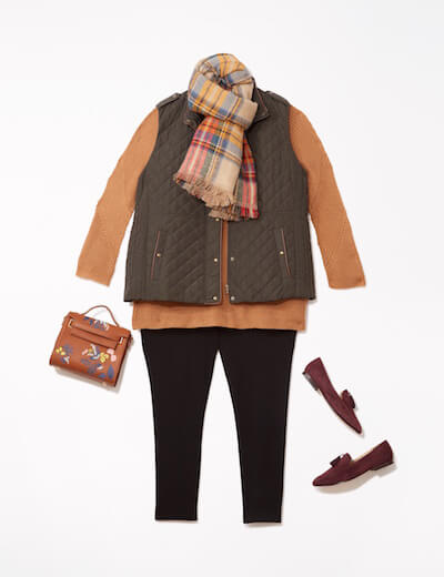 Leggings look with vest, scarf, and bag.