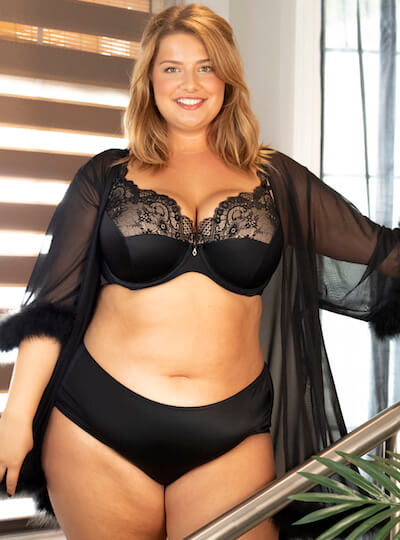 plus size lingerie by CurvyCouture black bra and panties