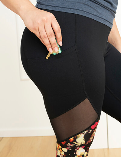 hidden pocket in active leggings plus size