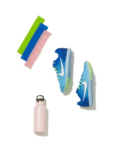Headbands, sneakers, and water bottle.