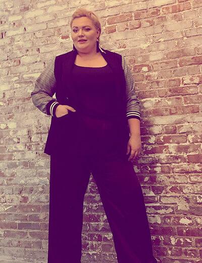 plus-size clothing black jumpsuit houndstooth jacket