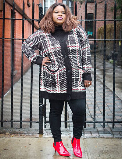 plus-size clothing plaid cardigan black leggings red shoes