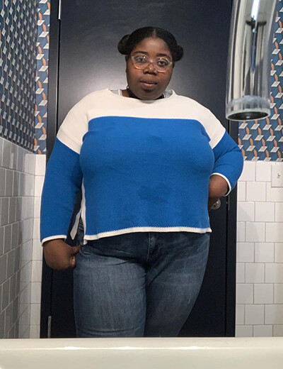 plus-size clothing blue and white sweater denim