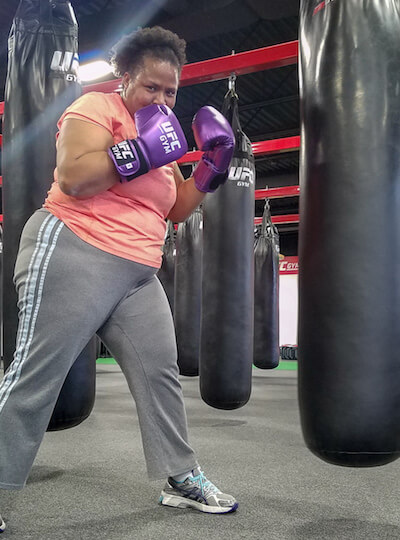 Bisa, boxing to train for her trip.