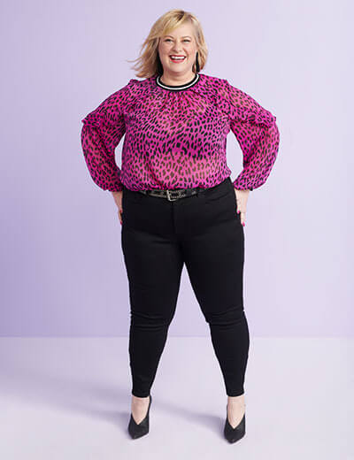 women who inspire what i see in her angela o'riley plus size leopard print top black pants power pose