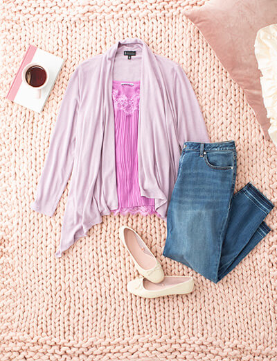 valentine's day plus size pink tank top mauve cardigan skinny jeans