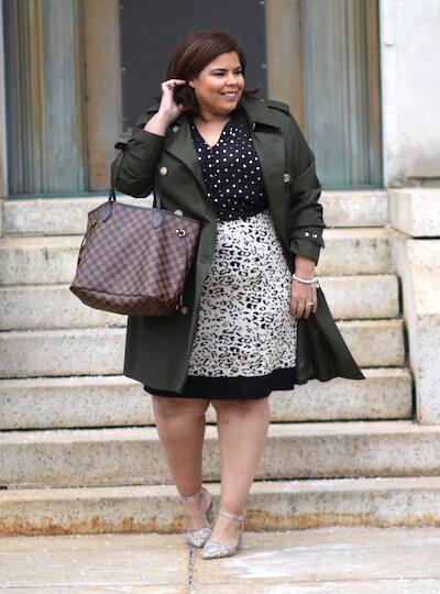Darlene in a stylish plus-size workwear ensemble.