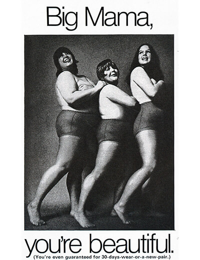 plus-size fashion history captiva magazine advertisement three women in tights you're beautiful