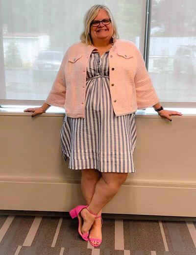 jennifer plus-size power outfits striped dress with denim jacket